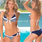 Women navy print Swimwear Bandeau Top and Bottom Lady BikiniSet Beachwear E821