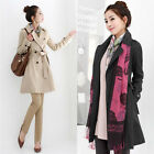 New Women Long Sleeve Slim Fit Trench Double Breasted Trench Coat Jacket Outwear