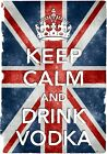 KC8 Vintage Style Union Jack Keep Calm Drink Vodka Funny Poster Print A2/A3/A4