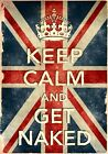 KCV6 Vintage Style Union Jack Keep Calm Get Naked Funny Poster Print A2/A3/A4