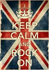 KCV14 Vintage Style Union Jack Keep Calm Rock On Funny Poster Print A2/A3/A4