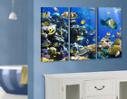 Canvas Art Underwater Reef Triptych I  Fishes Corals Ocean Marine Life Deep-Sea