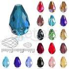 72/50Pcs 6/10mm Faceted Teardrop Crystal For Swarovski Loose Spacer Glass Beads