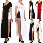 Short Sleeve Solid Maxi Dress with High Side Slit Round Neck Full Length S M L