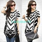 New Fashion Women Crystal Short Sleeve Round Neck Blouse T Shirt Loose Top L XL