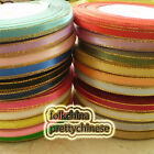 15 Yds/Roll 6mm Satin Ribbon Sewing Scrapbooking Craft Gold Edge