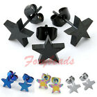 2pcs Punk Cool Men's Unisex Stainless Steel Star Ear Stud Earring Black Blue FB