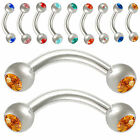 Pair eyebrow bars piercing rings curved barbell steel crystal 9HJI-SELECT COLOUR