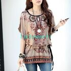 New Women Bohemia Batwing Floral Print Lycra Loose T-shirt Blouse Top L XL