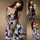 Womens Sexy Mini Dress Floral Print Strapless Evening Party Cocktail Dress NEW