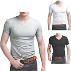 Men's V Neck Short Sleeve T-Shirt White Black Grey Casual Slim Tee