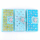 Cat's Eye Stones Opal Bling Diamond Leather Wallet Case Cover For Various Phones