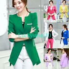 Womens Candy Color Blazer Jacket Suit Work Casual Basic Long Sleeve One Button