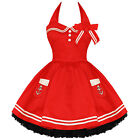 Hell Bunny Motley Ladies New Red Sailor Rockabilly Nautical Mini Party Dress