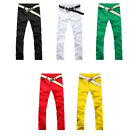 Fashion Men's Cozy Candy Color Slim Fit Casual Pants Tight Stretch Pencil Jeans