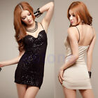Sexy Sparkle Sequins Deep V Neck Evening Cocktail Party Prom Club Bodycon Dress