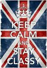 KC21 Vintage Style Union Jack Keep Calm Stay Classy Funny Poster Print A2/A3/A4