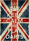 KCV25 Vintage Style Union Jack Keep Calm Play Darts Funny Poster Print A2/A3/A4