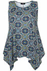 Yoursclothing Womens Plus Size Tile Print Sleeveless Top With Hanky Hem