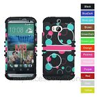 For HTC One M8 Turquoise & Red Bubbles Hybrid Rugged Impact Armor Case Cover