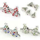 5x Crystal Christmas Xmas Tree Silvery European Beads Fit Charms Bracelet Making