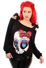 Banned Apparel Diamond Skull & Bow Polka Tie Top Black Gothic Jumper Sweater Top