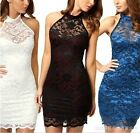 Ladies' Sexy Contrast Lace Backless Prom Wedding Formal Evening Party Lace Dress