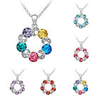 Fashion Crystal Rhinestone Dainty Hollow Pendant Silver Plated Chain Necklace