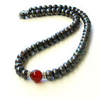 Chic Black Genuine pearls&Natural Carnelian Necklace AU SELLER n184-5