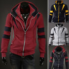 New fashion mixed colors Slim double zipper hooded cardigan sweater for men
