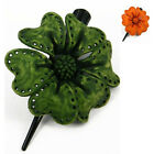 """Handmade"" Brushed Leather Flower Barrette Hair Clip Bow Rose 3 in bdb8"