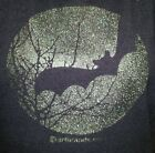 BAT FLYING IN SILVER GLITTER MOONLIGHT T-SHIRT HALLOWEEN PARTY VAMPIRE WICCA