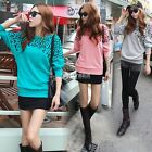 Women Latest Leopard Batwing Sleeve Crewneck Cotton Sweater Dress Top Jumpers