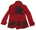 $1,200 Polo Ralph Lauren Mens Heavy Wool Red Indian Logo Jacket Peacoat Size M L