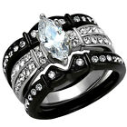 2.50 Ct Marquise Cut CZ Black Stainless Steel Wedding Ring Set Women's Size 5-11