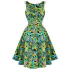 Hearts & Roses London New Green Retro Floral Vintage 50S Party Prom Swing Dress