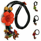 """Handmade"" Leather Flower Necklace Pendant Charm 26 in Anemone Choose Color alb2"