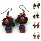 """Handmade"" Leather Flower Rhodium Drop/Dangle Hook Earrings Anemone dla6"