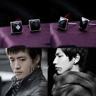 Elegant Chic Women Men Unisex Bling Glitter Round/ Square Crystal Earrings Black