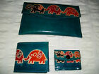 Purse / Wallet  3 Piece  LEATHER   Elephant or Sun & Moon Design   Read Below