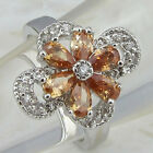 size 5.5 6.5 gorgeous orange Citrine flower jewelry gold filled woman ring k862