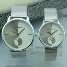 Shinny Silver Couple Lover Stainless Steel Men Womens Quartz Wrist Watch Watches