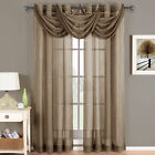 Abri Mocha Grommet Crushed Sheer Curtain Panel