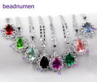 1 set White-K Plated crystal water Drops necklace pendant