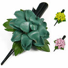 """Handmade"" Leather Flower Hair Clip Barrette Bow Amaryllis Choose Color bba3"