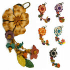"""Handmade"" Leather Flower Keychain Bag Charm Key Ring Amaryllis Floral fca7"
