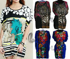 BOHO Women Tunic Kaftan Loose Long Top/Beach Cover Up/Mini Dress AU SELLER T013