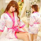 Sexy Lingerie Kimono Dress + G string + Band Set Sleepwear