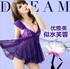 Sexy Lingerie Lace Mini Dress Underwear Babydoll Sleepwear+G-String Set