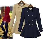 Fashion Women Double-breasted Coat Long Outwear Slim Fit Trench Skirt Jacket New